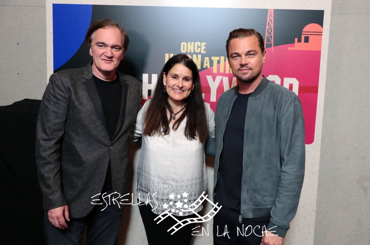 Las Vegas, NV - April 23, 2018: Quentin Tarantino, writer/director/producer, Shannon McIntosh, producer, and Leonardo DiCaprio at the CinemaCon Photo Call for Columbia Pictures' ONCE UPON A TIME IN HOLLYWOOD at The Colosseum at Caesar's Palace. #OnceUponATimeInHollywood