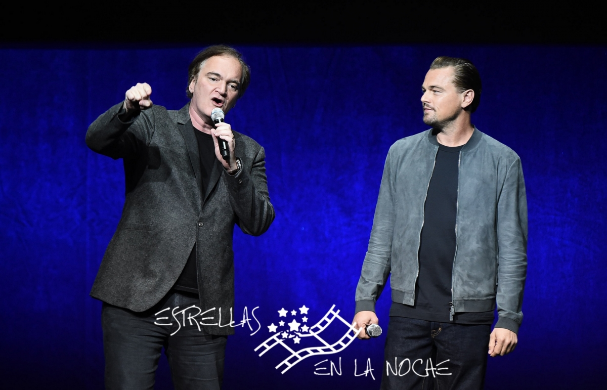 Las Vegas, NV - April 23, 2018: Quentin Tarantino, writer/director/producer, and Leonardo DiCaprio speak at Sony Pictures Entertainment's CinemaCon Presentation at The Colosseum at Caesar's Palace.